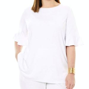 Lane Bryant White Ruffle Sleeve Top